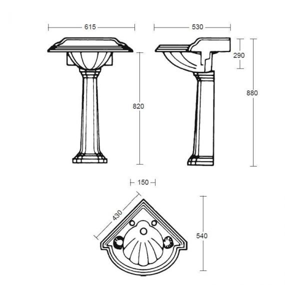 Imperial Oxford Corner Basin and Pedestal Specification