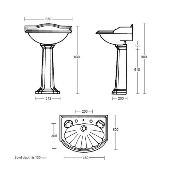 Imperial Oxford Large Basin and Pedestal Specification