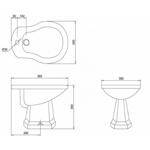 Burlington English Garden Bidet - Spec