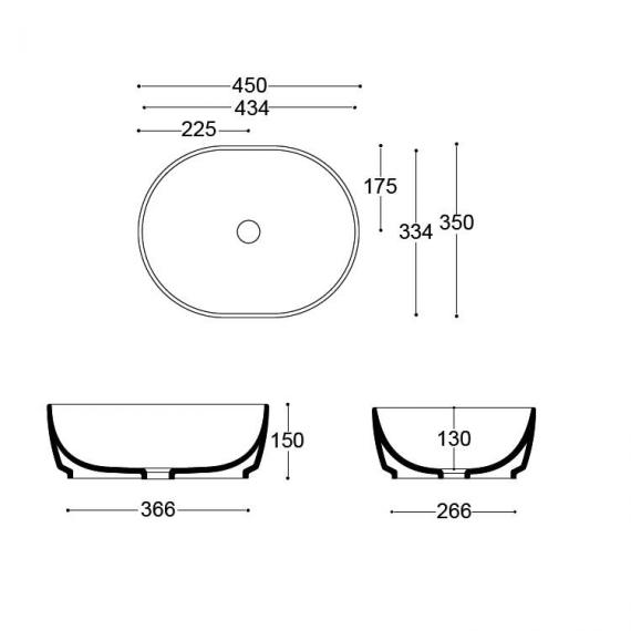 Bauhaus Pearl Countertop Basin Specification