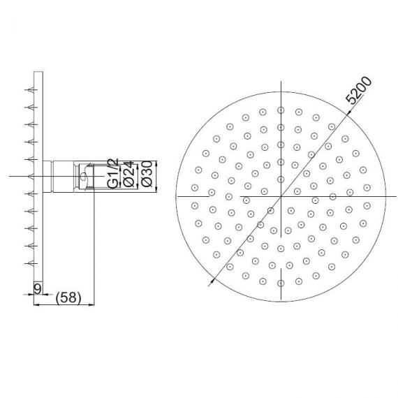 Crosswater Mike Pro Chrome 200mm Fixed Shower Head Specification