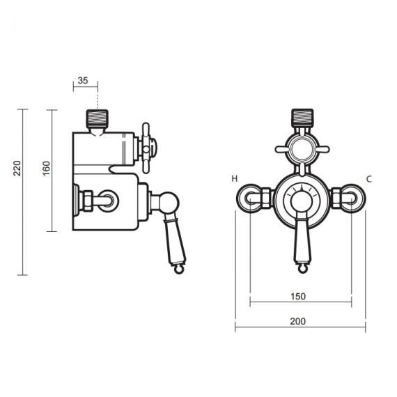 Imperial Radcliffe Exposed Thermostatic Dual Control Shower Valve Spec