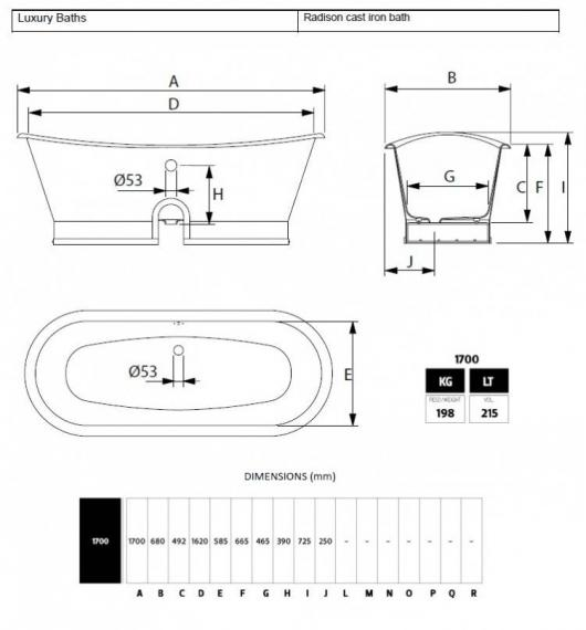 Imperial Radison Cast Iron Freestanding Bath Specification