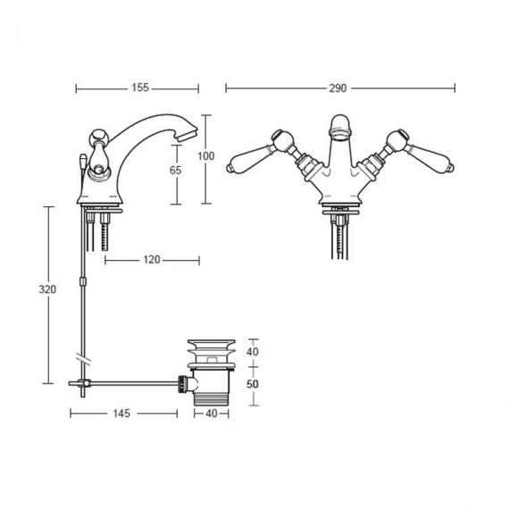Imperial Regent Monobloc Basin Mixer Specification
