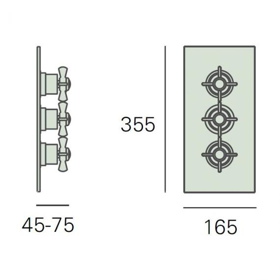 Heritage Dawlish Recessed Triple Thermostatic Shower Valve Specification