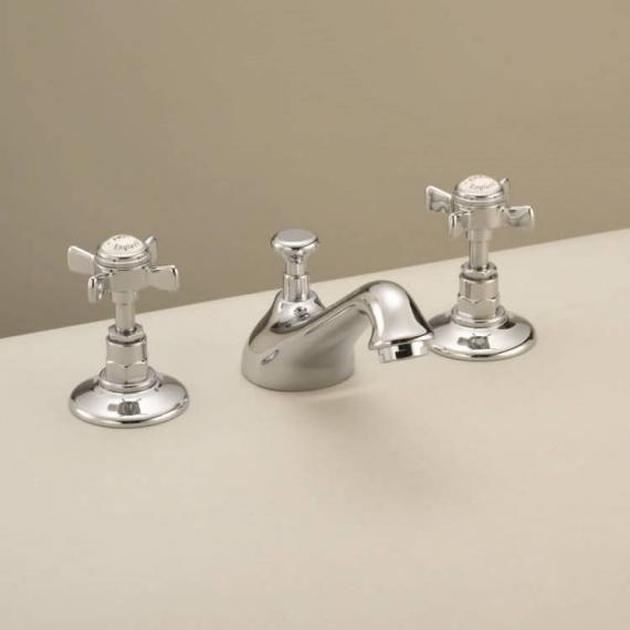 St James 3 Hole Basin Mixer With Pop Up Waste - England Handle