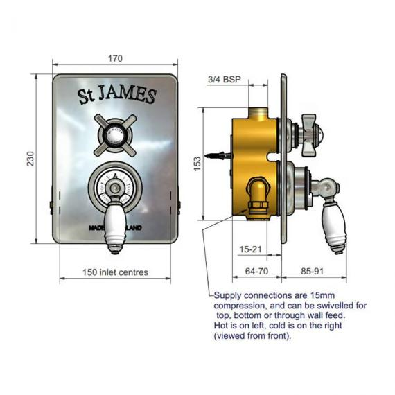 St James Shower Head Specification