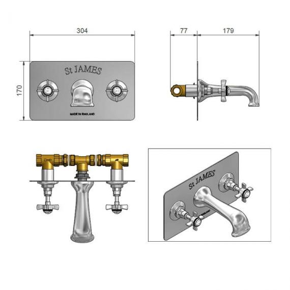 St James Collection Wall Mounted Bath Filler With Plate - England Handle Specification