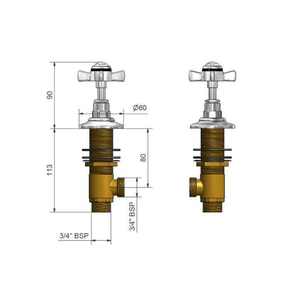 St James Collection Deck Mounted Bath Flow Valves Specification