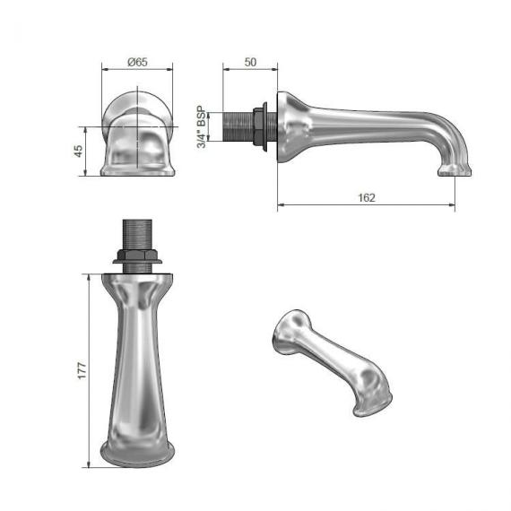 St James Collection Wall Mounted Bath Spout Specification