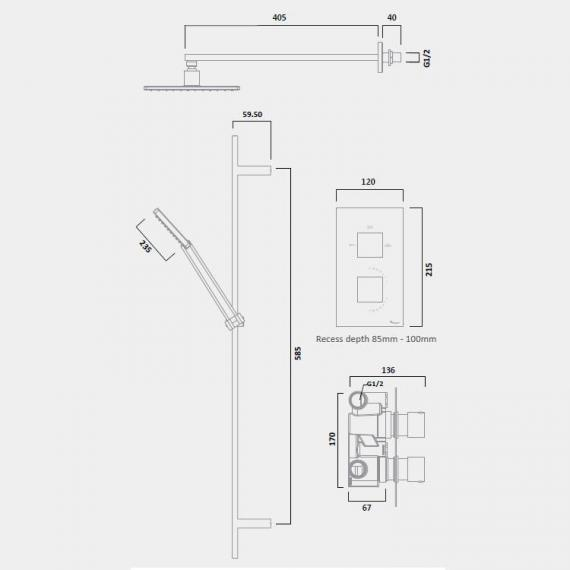 Tavistock Index Thermostatic Dual Shower Valve Kit - Spec