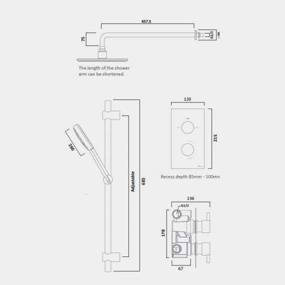 Tavistock Quantum Thermostatic Concealed Shower Valve Kit - Spec