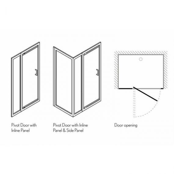 Simpsons Supreme Pivot Shower Door With Inline Panel Specification