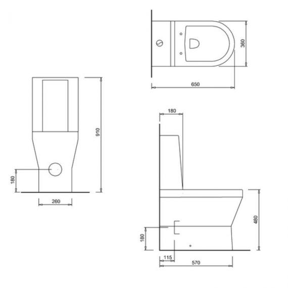 Britton Tall Close Coupled Back To Wall WC, 1 Piece Cistern & Seat - Spec