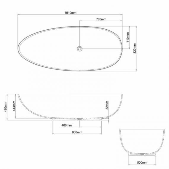 Clearwater Teardrop Grande Clear Stone Freestanding Bath Specification