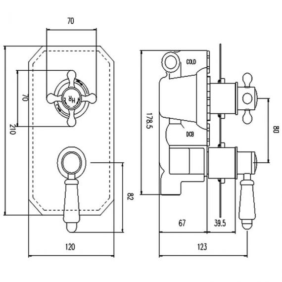 Hudson Reed Topaz Twin Concealed Shower Valve With Diverter Specification
