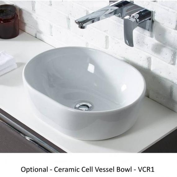 Roper Rhodes Diverge Charcoal Elm 800mm Wall Mounted Unit & Worktop - Cell Vessel Basin
