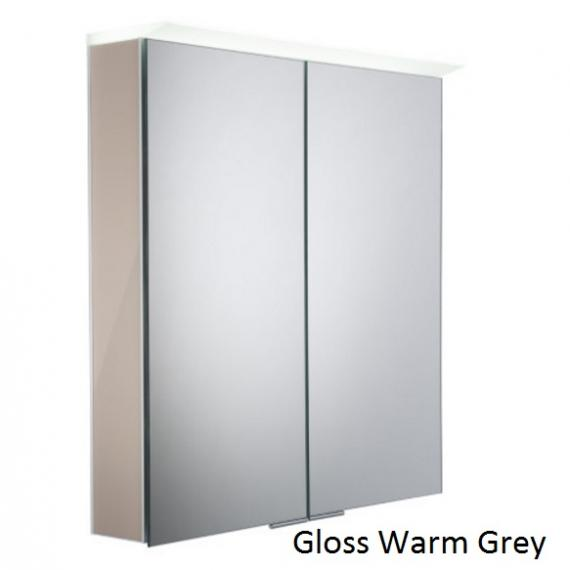 Roper Rhodes Visage LED Illuminated Aluminium Mirror Cabinet - Gloss Warm Grey