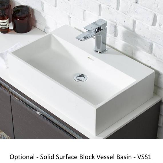 Roper Rhodes Diverge Charcoal Elm 800mm Wall Mounted Unit & Worktop - Block Vessel Basin