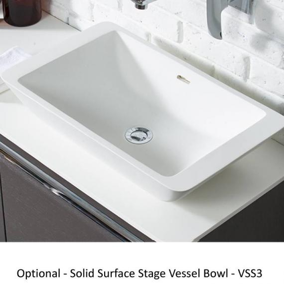 Roper Rhodes Diverge Charcoal Elm 800mm Wall Mounted Unit & Worktop - Stage Vessel Basin