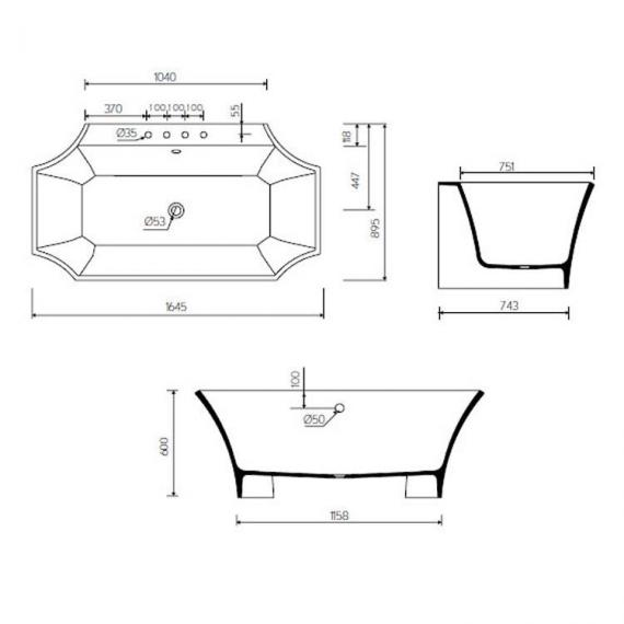 Bauhaus Waldorf Back To Wall Freestanding Bath Specification
