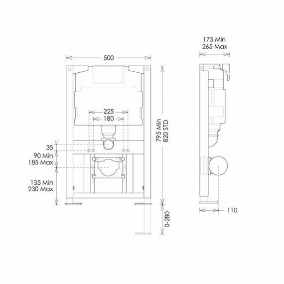 Bauhaus 0.82 Wall Hung WC Support Frame & Cistern Specification