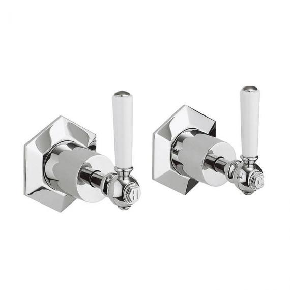 Crosswater Waldorf White Lever Wall Stop Taps