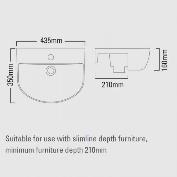 Roper Rhodes Zest 435mm Slim Depth Semi Countertop Basin - Spec
