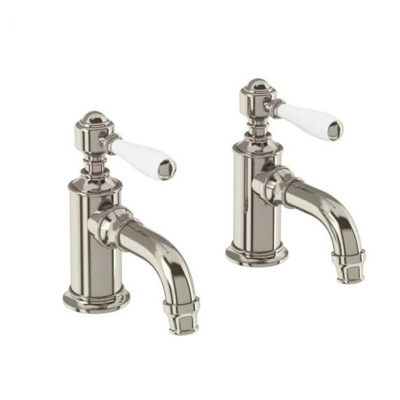 Arcade Nickel Cloakroom Basin Pillar Taps With Black, Nickel Or White Levers