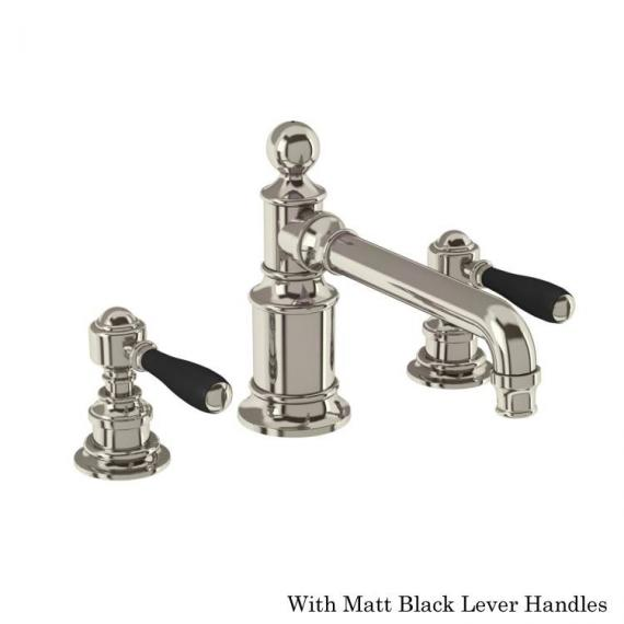 Arcade Nickel 3 Tap Hole Basin Mixer With Black Levers
