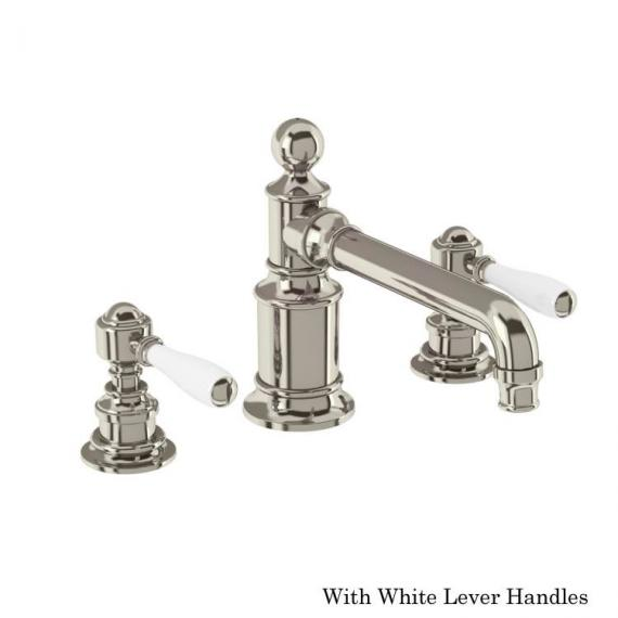 Arcade Nickel 3 Tap Hole Basin Mixer With White Levers