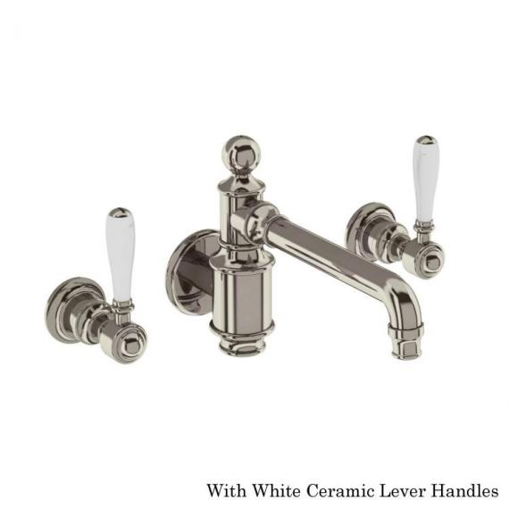 Arcade Nickel Wall Mounted Basin Mixer With White Levers