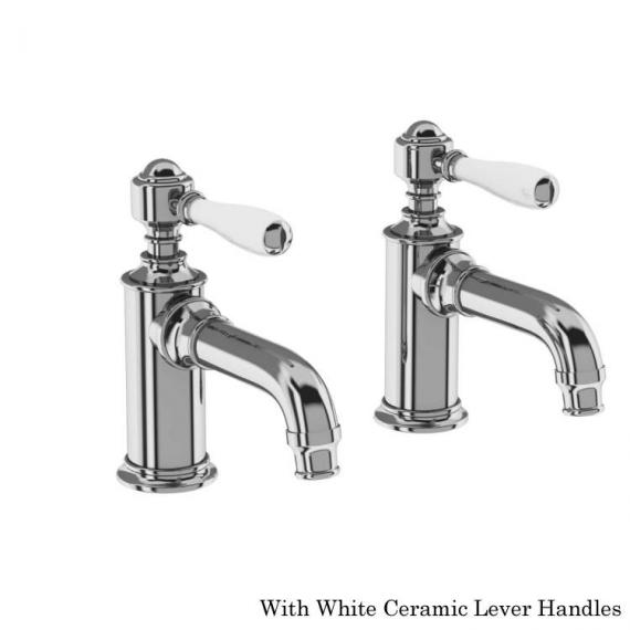 Arcade Chrome Basin Pillar Taps With White Levers