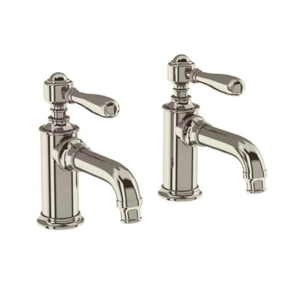Arcade Nickel Basin Pillar Taps With Black, Nickel Or White Levers