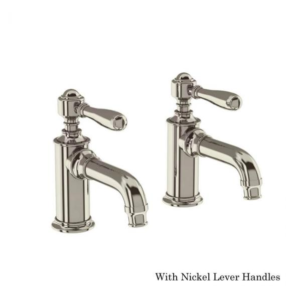 Arcade Nickel Basin Pillar Taps With Nickel Levers