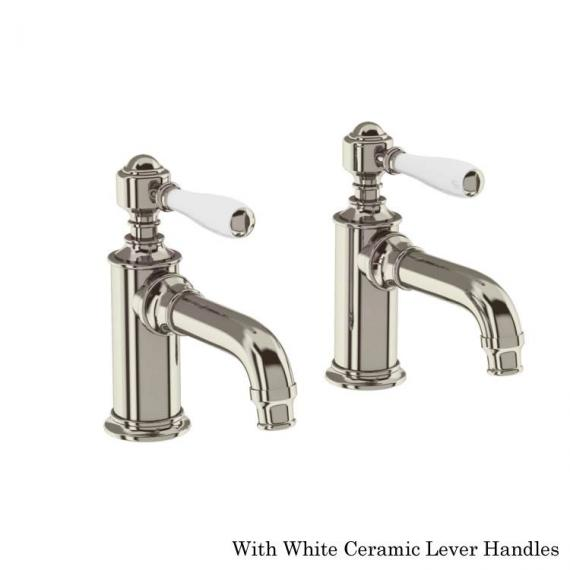 Arcade Nickel Basin Pillar Taps With White Levers