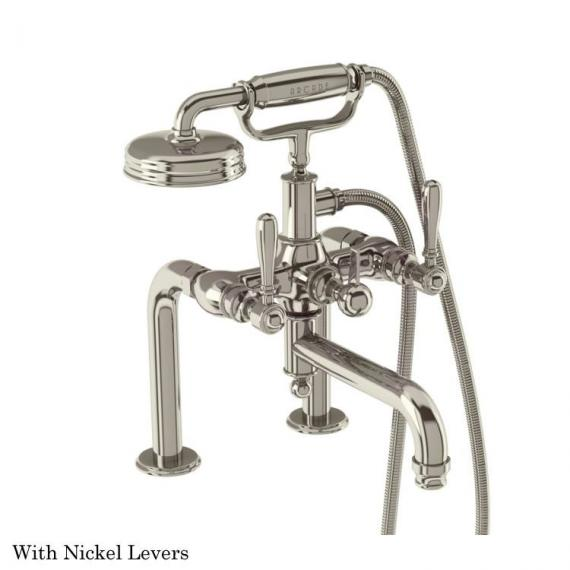 Arcade Nickel Deck Mounted Bath Shower Mixer With Nickel Levers