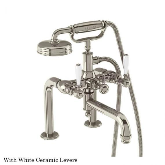 Arcade Nickel Deck Mounted Bath Shower Mixer With White Levers