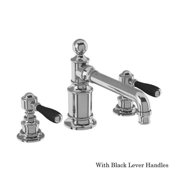 Arcade Chrome 3 Tap Hole Basin Mixer With Black Levers
