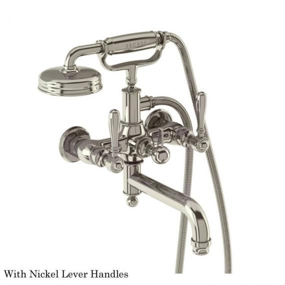 Arcade Nickel Wall Mounted Bath Shower Mixer With Nickel Levers
