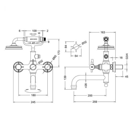 Arcade Nickel Wall Mounted Bath Shower Mixer Specification