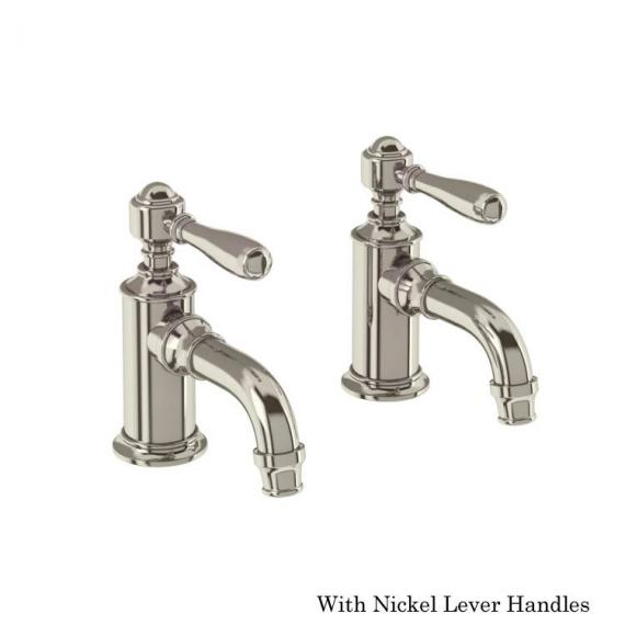 Arcade Nickel Cloakroom Basin Pillar Taps With Nickel Levers