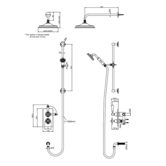 Arcade Nickel Thermostatic Shower Valve, Head & Sliding Rail Kit Specification
