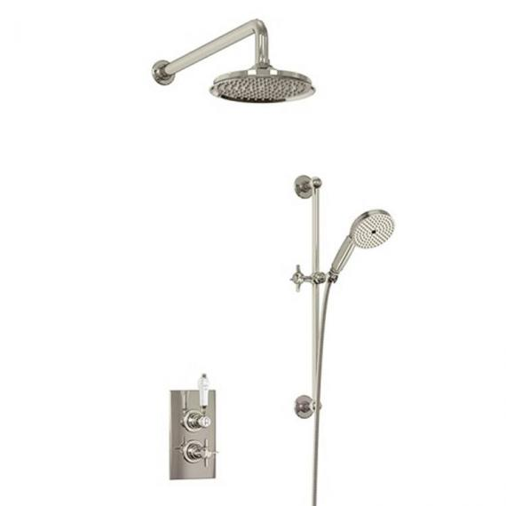 Arcade Nickel Thermostatic Shower Valve, Head & Sliding Rail Kit