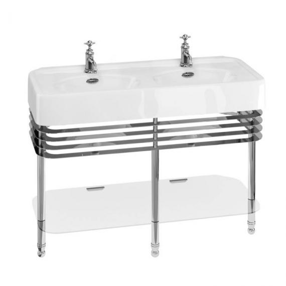Arcade 1200mm Double Basin With Chrome Wash Stand - 1 Tap Holes