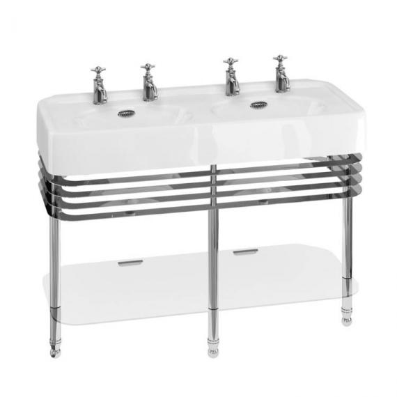 Arcade 1200mm Double Basin With Chrome Wash Stand - 2 Tap Holes