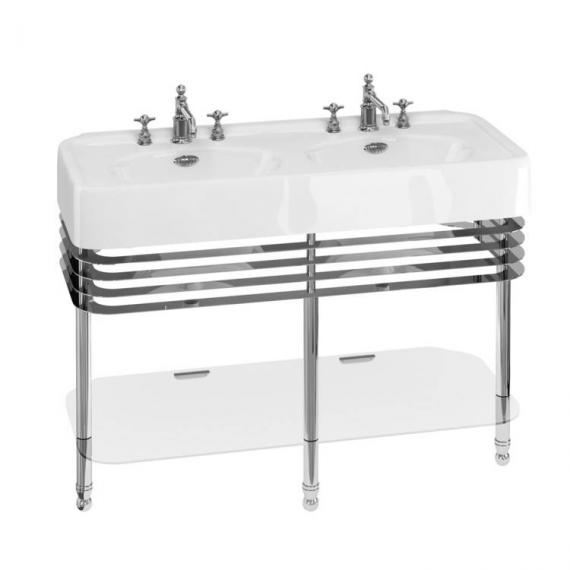 Arcade 1200mm Double Basin With Chrome Wash Stand - 3 Tap Holes