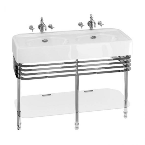 Arcade 1200mm Double Basin With Chrome Wash Stand - 0 Tap Holes