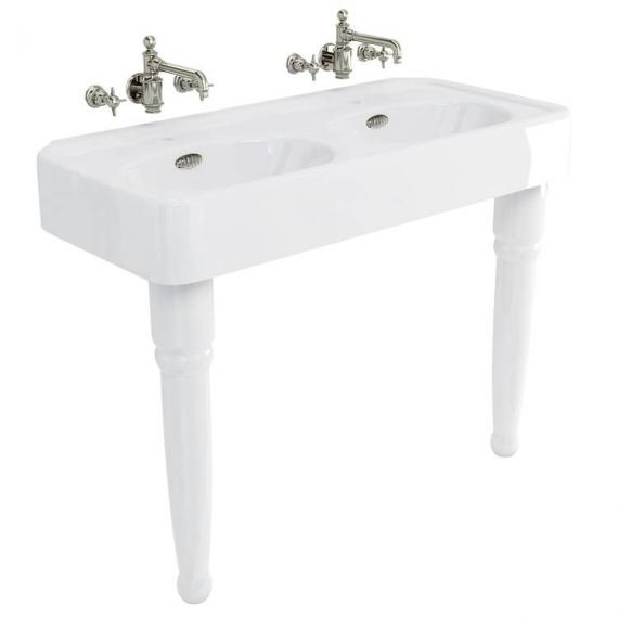 Arcade Console 1200mm Double Basin With Ceramic Legs - 0 Tap Holes