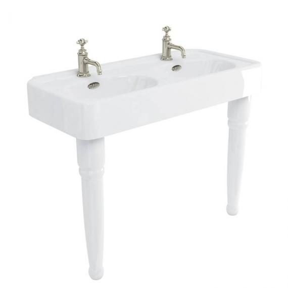 Arcade Console 1200mm Double Basin With Ceramic Legs - 1 Tap Hole